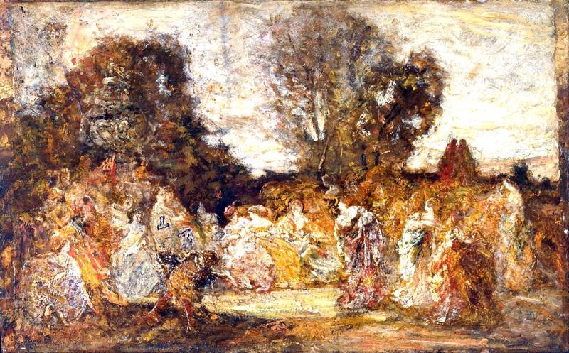 Дамы в саду  печать на холсте, натянут Монтичелли Адольф Жозеф Тома - фото 1