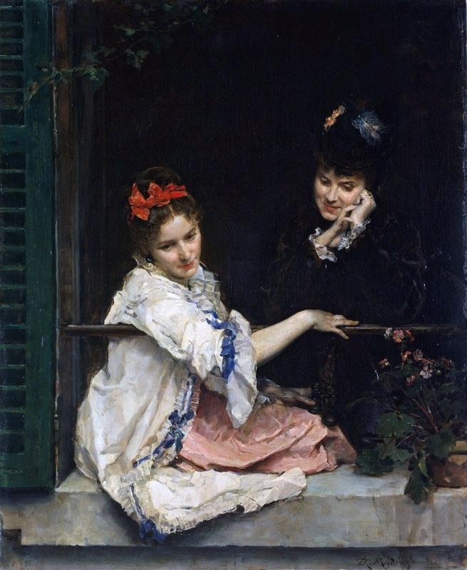 Девушки в окне  печать на холсте, натянут Мадрасо Раймундо - фото 1