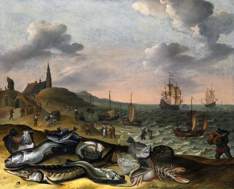 Прибрежный пейзаж с грудой рыбы  печать на холсте, натянут Виллартс Адам - фото 1
