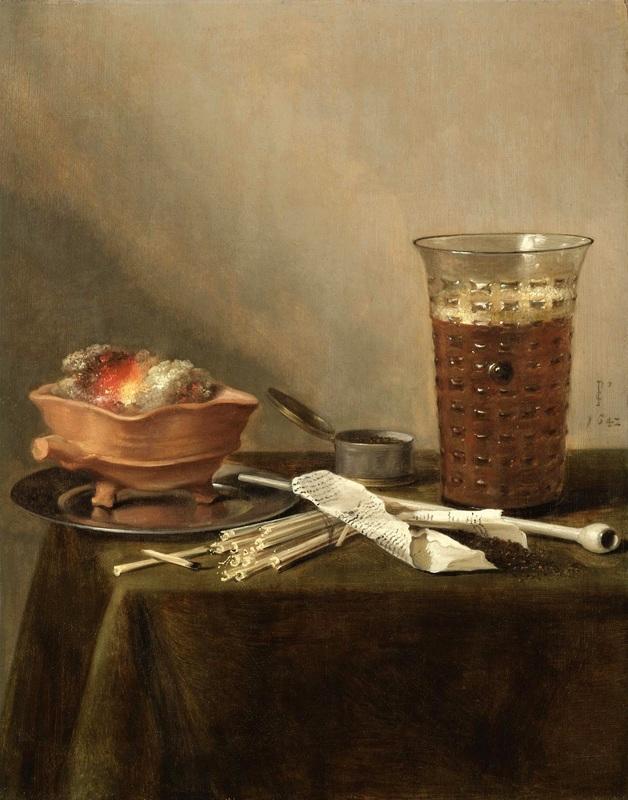 Натюрморт с жаровней, стеклянным бокалом с пивом и курительными принадлежностями  печать на холсте, натянут Клас Питер - фото 1