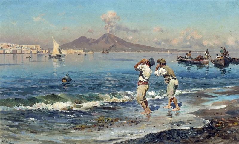Una veduta del golfo di Napoli con i pescatori nella priorita alta  печать на холсте, натянут Лето Антонио - фото 1