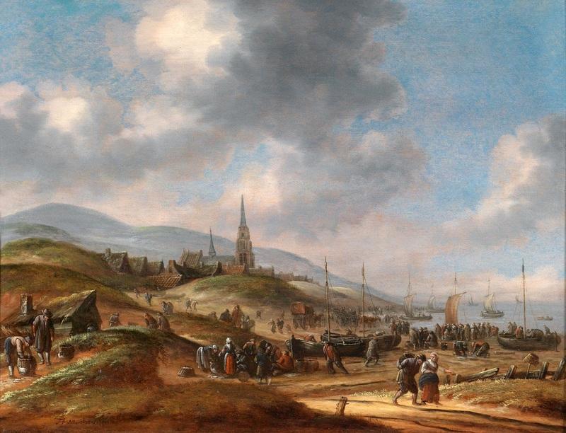 Вид на побережье Scheveling  печать на холсте, натянут Хереманс Томас - фото 1