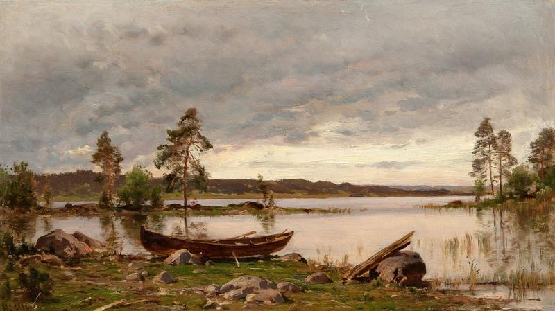 Лодка на берегу  печать на холсте, натянут Мунстеръелм Ялмар - фото 1