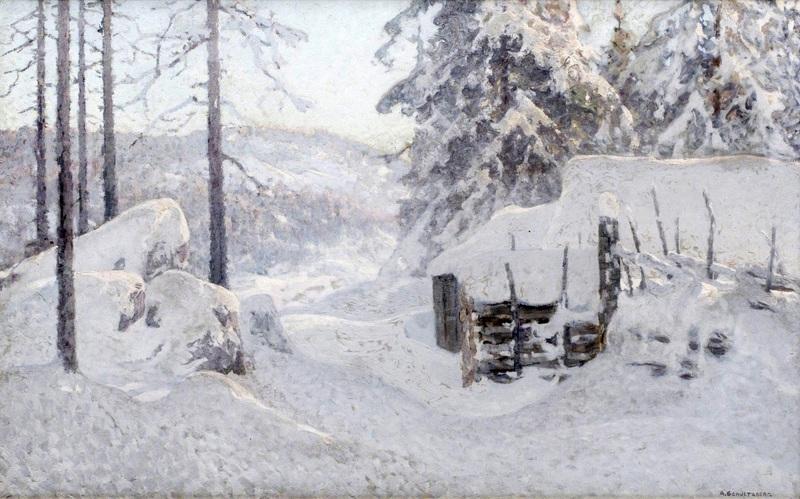 Зимний пейзаж  печать на холсте, натянут Шультцберг Ансельм - фото 1