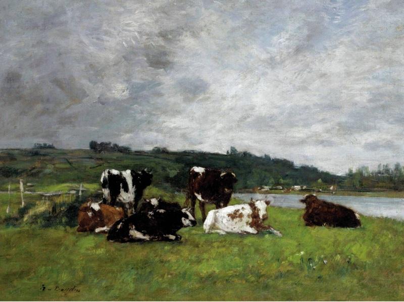 Коровы на пастбище  печать на холсте, натянут Буден Эжен - фото 1