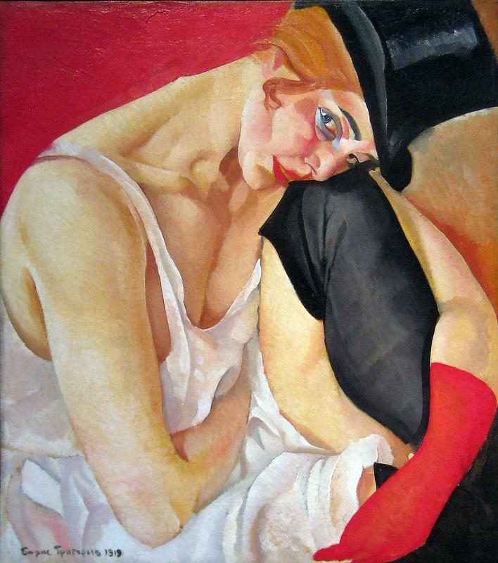 Женщина в цилиндре  печать на холсте, натянут Григорьев Борис - фото 1