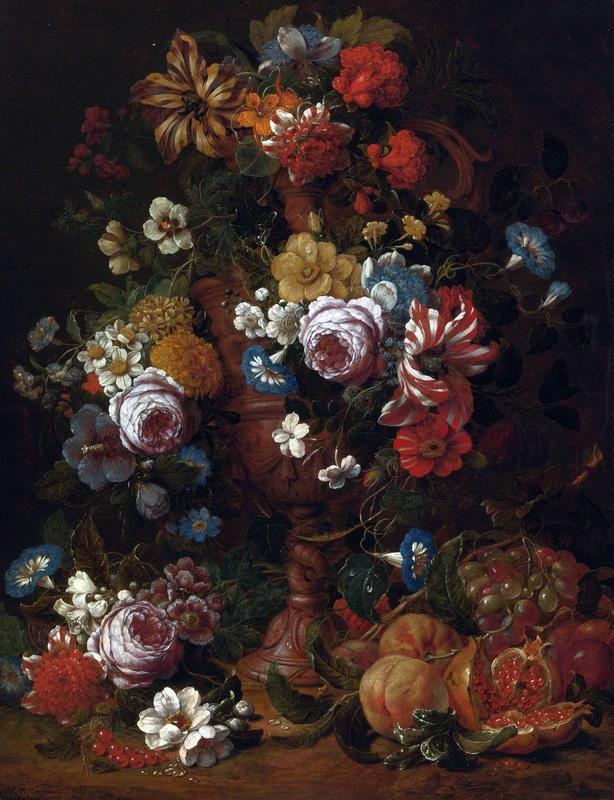 Натюрморт с цветами в скульптурной урне и фруктами  печать на холсте, натянут Верендаль Николас ван - фото 1
