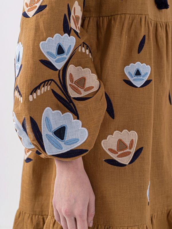 Льняное миди платье c вышивкой Kazka Brown  Ткань - лен Рост модели ЕтноДім - фото 5