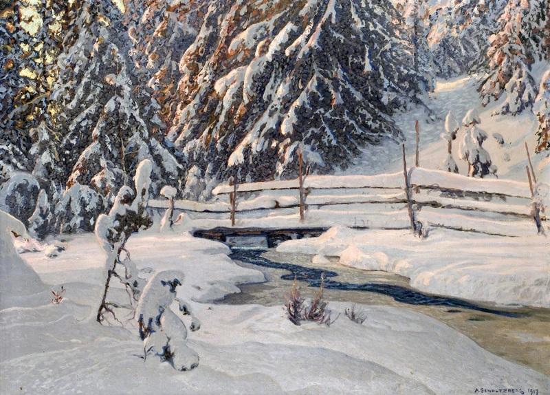 Зимний вечер у лесного ручья  печать на холсте, натянут Шультцберг Ансельм - фото 1