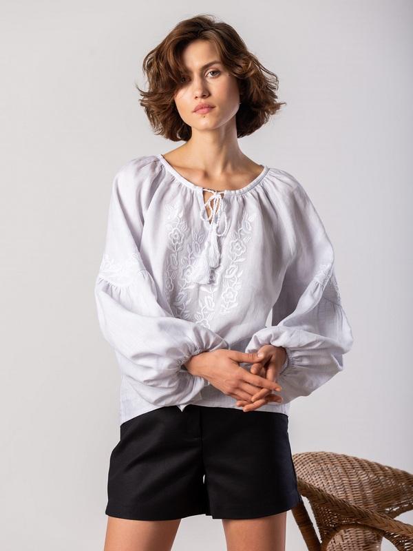 Белая блузка с белым растительным орнаментом Pure Белый Цвет - белый Ткань - лен ЕтноДім - фото 3