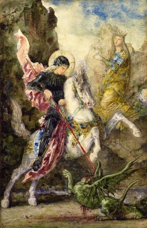 Святой Георгий и дракон  печать на холсте, натянут Моро Гюстав - фото 1