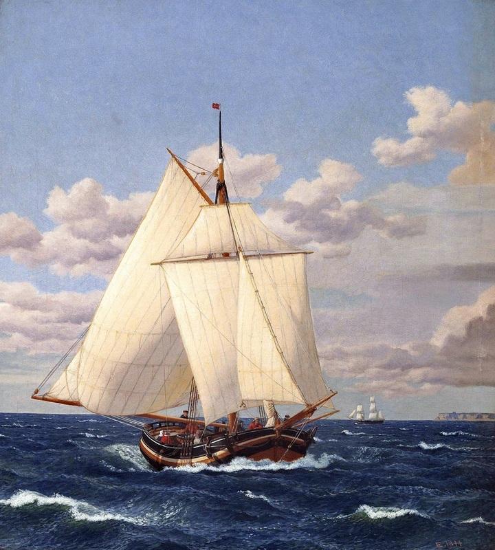 Датская яхта, проходящая Стевнс  печать на холсте, натянут Эккерсберг Кристоффер Вильхельм - фото 1