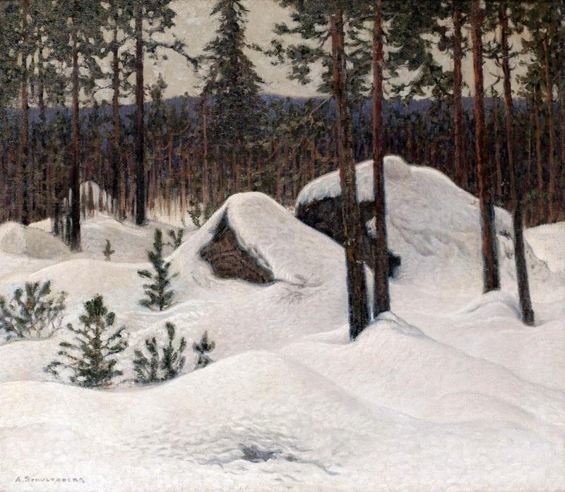 Зимний пейзаж №6  печать на холсте, натянут Шультцберг Ансельм - фото 1