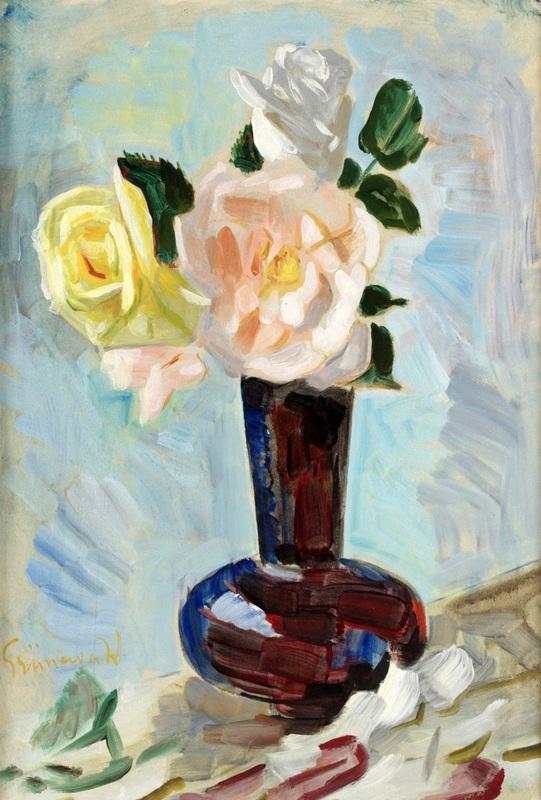 Розы в красной вазе  печать на холсте, натянут Грюневальд Исаак - фото 1