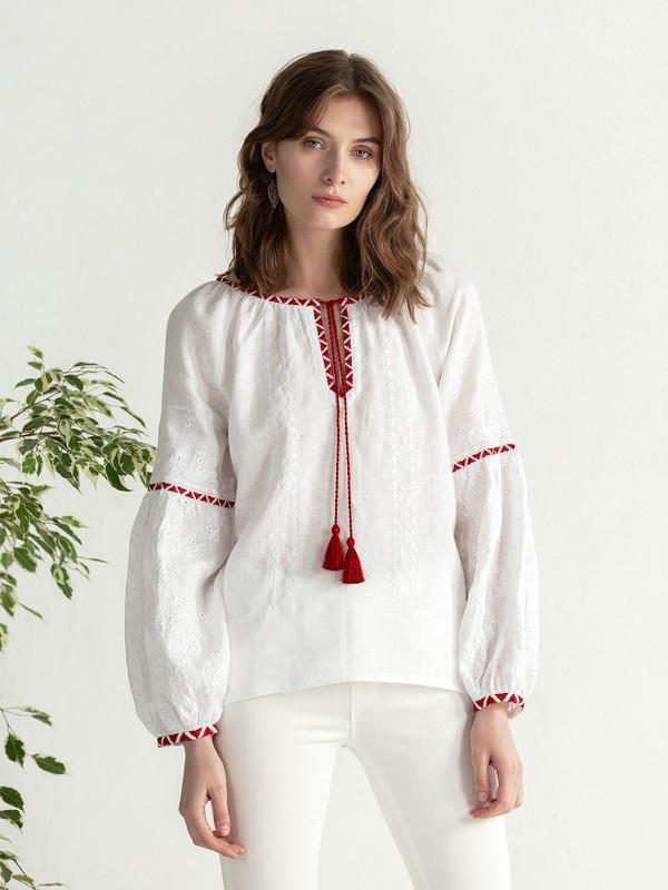 Льняная блузка с красно-белой вышивкой Elin Белый Цвет – белый Ткань – лен ЕтноДім - фото 1