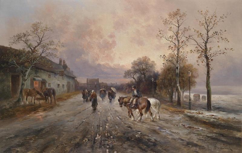 Вечерний пейзаж, Форштадт  печать на холсте, натянут Барбарини Эмиль - фото 1