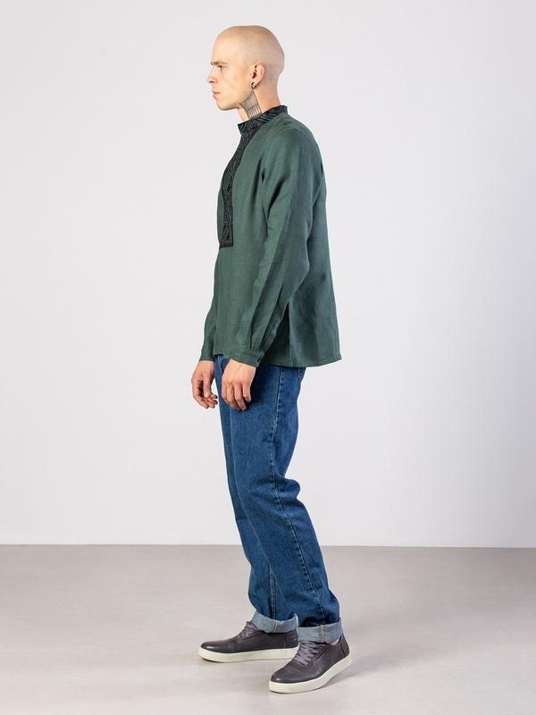 Мужская рубашка из зеленого льна с геометрической вышивкой Troyan Зеленый Ткань - лен (зеленый) Те ЕтноДім - фото 4