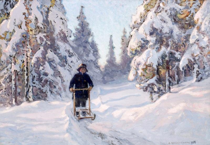 Зимний мотив с мальчиком на финских санях  печать на холсте, натянут Шультцберг Ансельм - фото 1