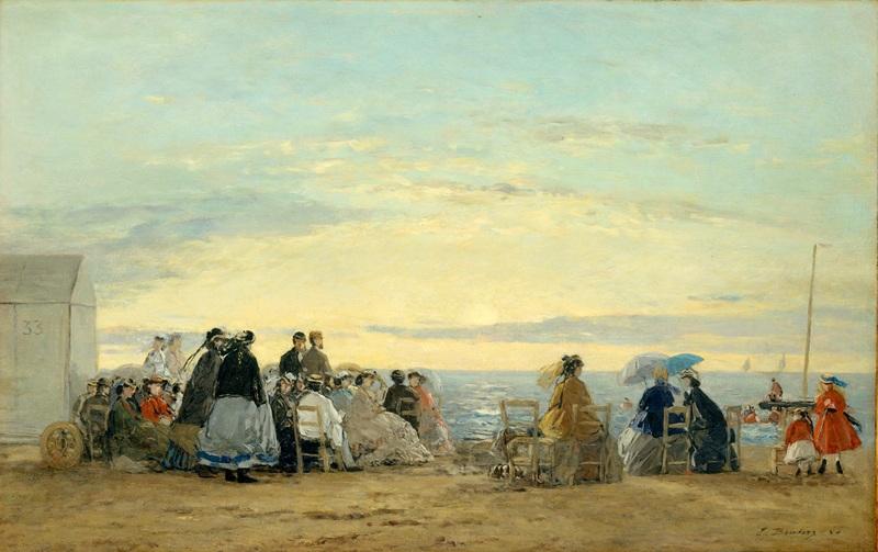 На пляже, заход Солнца  печать на холсте, натянут Буден Эжен - фото 1