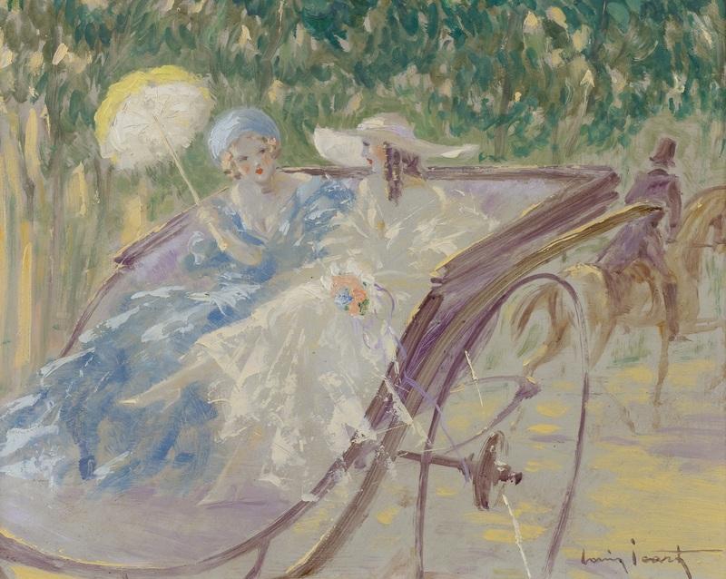 Две элегантных дамы в карете  печать на холсте, натянут Икар Луи - фото 1