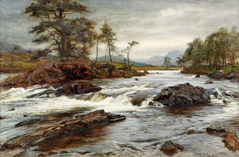 Горная река  печать на холсте, натянут Фаркухарсон Джозеф - фото 1