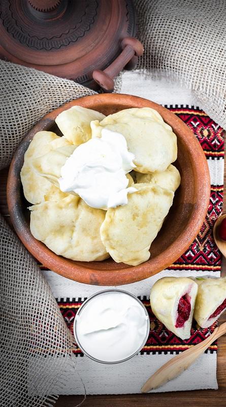 Украинские вареники с капустой, сыром и вишнями №1  печать на холсте, натянут UkrainArt - фото 2