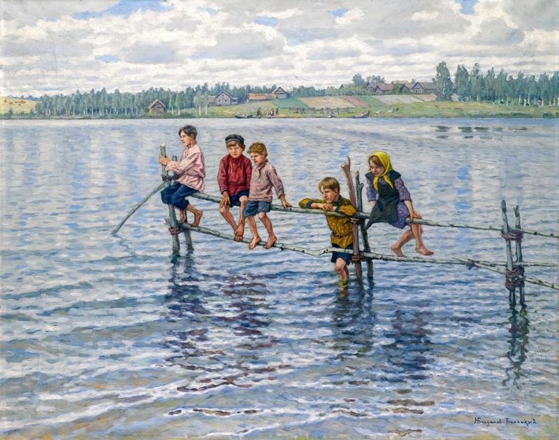 Дети на озере в Леттгаллии  печать на холсте, натянут Богданов-Бельский Николай - фото 1