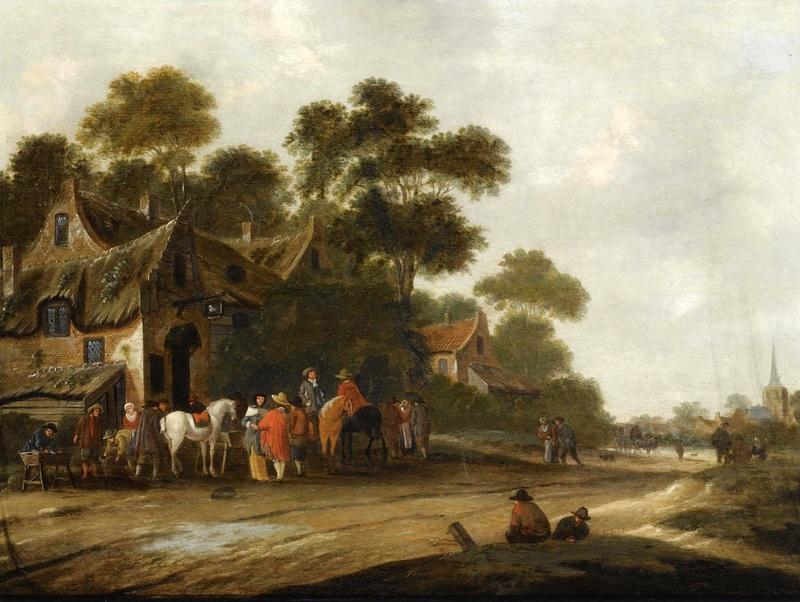 Пейзаж с деревенской дорогой и путешественниками, отдыхающими у таверны  печать на холсте, натянут Хереманс Томас - фото 1