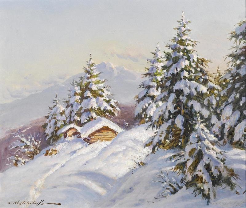 Зимний пейзаж №2  печать на холсте, натянут Вещилов Константин - фото 1