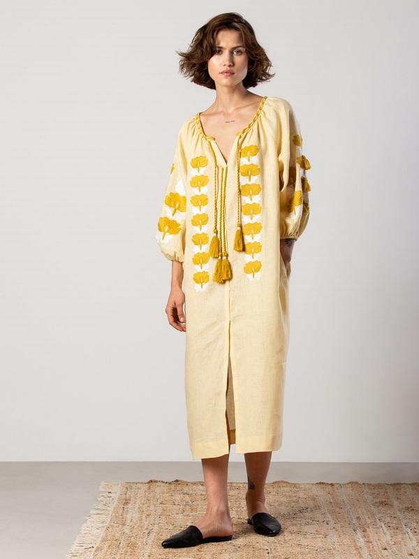 Легкое желтое платье с вышивкой Jawa Желтый Ткань - лен 100% Вышивка ЕтноДім - фото 6