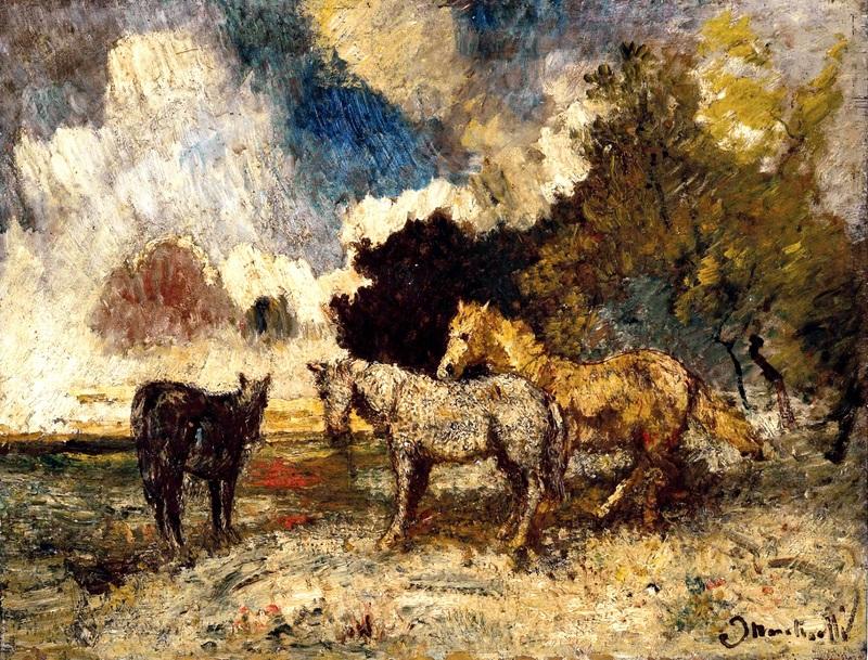 Три лошади  печать на холсте, натянут Монтичелли Адольф Жозеф Тома - фото 1