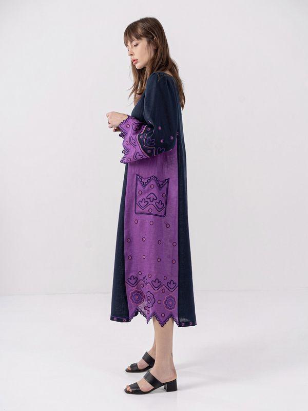 Льняное платье темно-синего цвета Nizhnist Violet Синий Ткань - лен  Рост модели ЕтноДім - фото 7