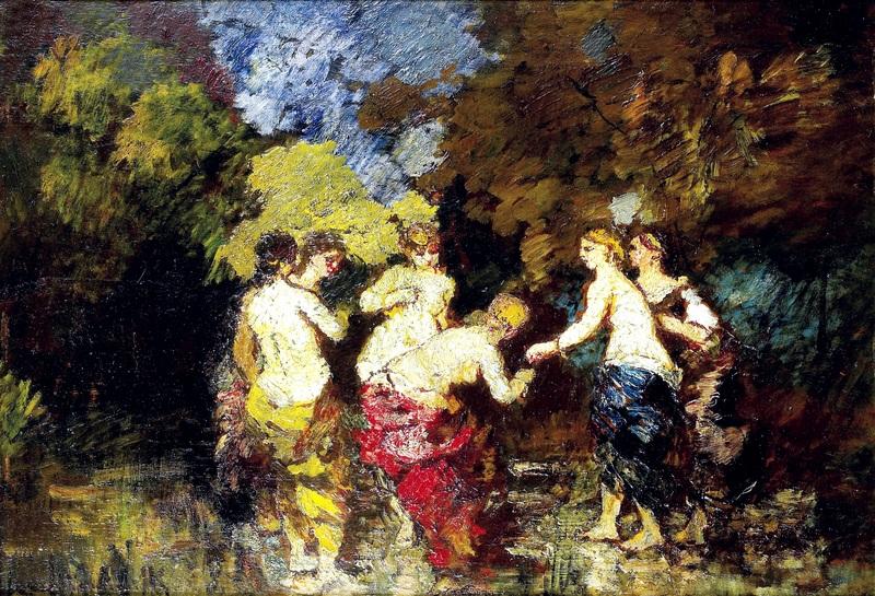 Шесть купальщиц  печать на холсте, натянут Монтичелли Адольф Жозеф Тома - фото 1