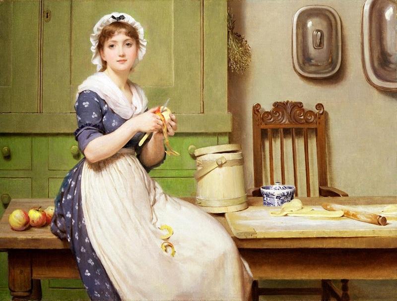 Чистка яблок  печать на холсте, натянут Лесли Джордж Данлоп - фото 1