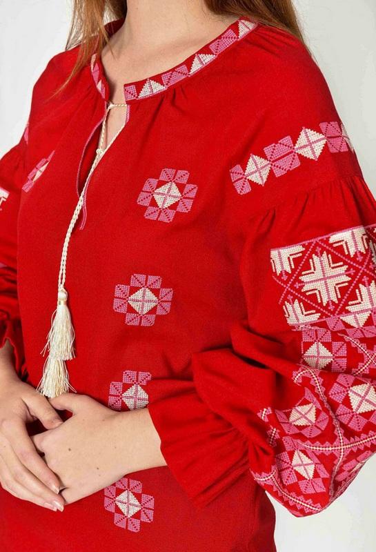 """Вышиванка женская """"Зоря"""" бордо Красный 100% лен 2KOLYORY - фото 3"""