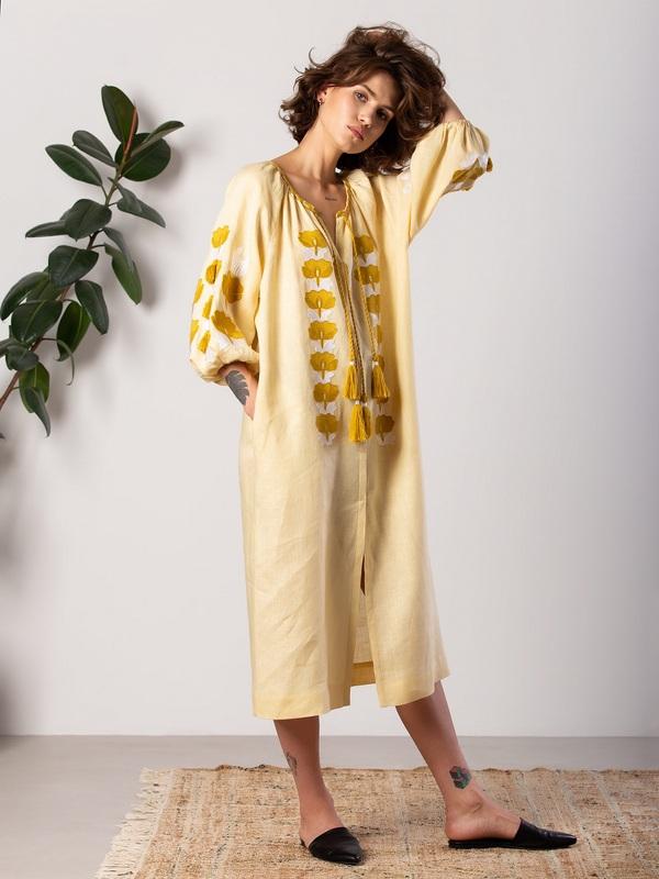 Легкое желтое платье с вышивкой Jawa Желтый Ткань - лен 100% Вышивка ЕтноДім - фото 4