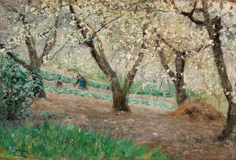 Цветущие фруктовые деревья в Сюрене  печать на холсте, натянут Шультцберг Ансельм - фото 1