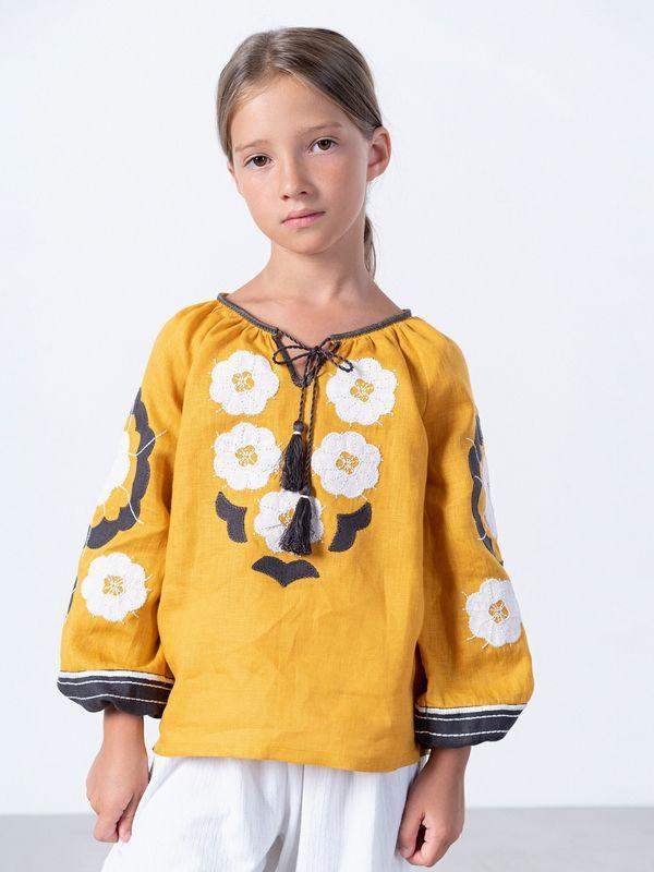 Желтая вышиванка для девочки Sunny Kids Желтый Ткань - лен Техника испо ЕтноДім - фото 1