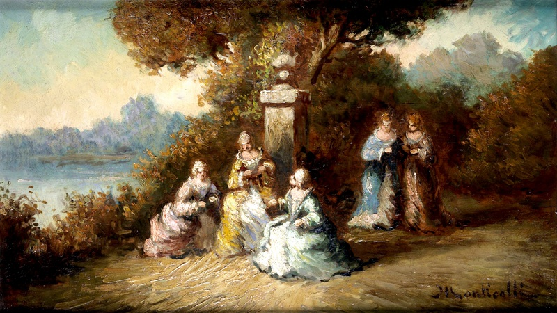 Придворные дамы в костюмах барокко  печать на холсте, натянут Монтичелли Адольф Жозеф Тома - фото 1