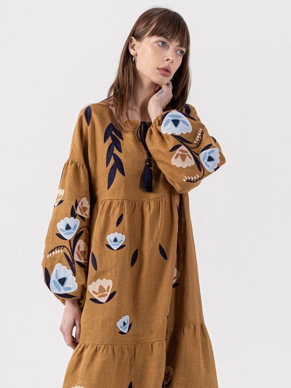 Льняное миди платье c вышивкой Kazka Brown  Ткань - лен Рост модели ЕтноДім - фото 7