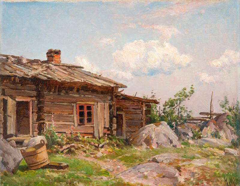 Вид двора  печать на холсте, натянут Мунстеръелм Ялмар - фото 1
