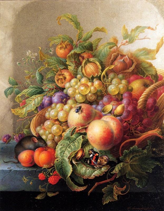 Натюрморт с солнечными фруктами  печать на холсте, натянут Хенстенбург Герман - фото 1