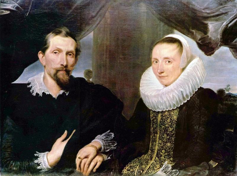 Портрет Франса Снейдерса и его жены  печать на холсте, натянут Ван Дейк Антонис - фото 1