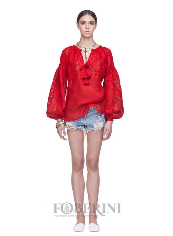 """Вышиванка """"Total Red"""" Красный Лён 100% FOBERINI - фото 1"""