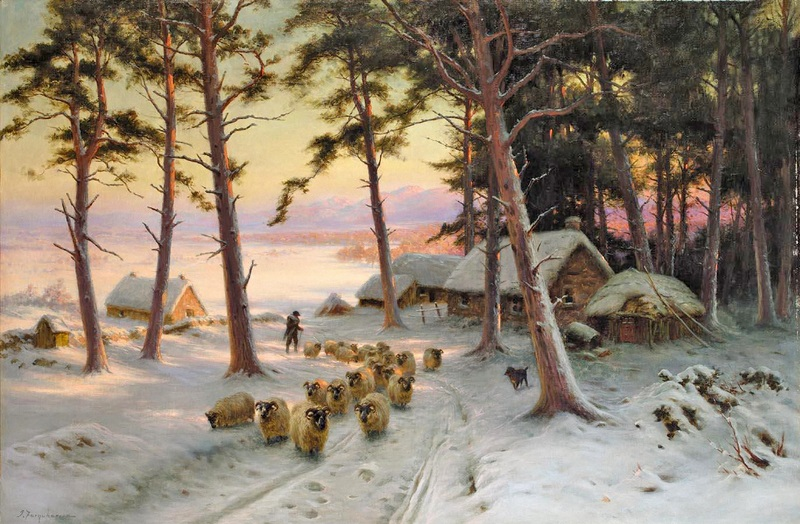 Домой через блестящий снег  печать на холсте, натянут Фаркухарсон Джозеф - фото 1