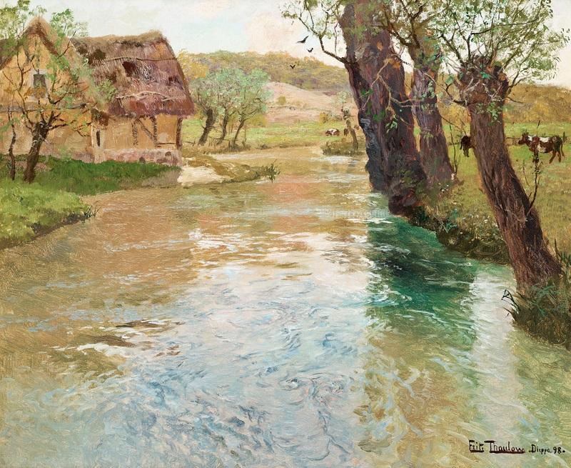 Речной пейзаж в Дьеппе  печать на холсте, натянут Таулов Фриц - фото 1