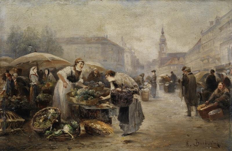 Рынок в Вене  печать на холсте, натянут Барбарини Эмиль - фото 1