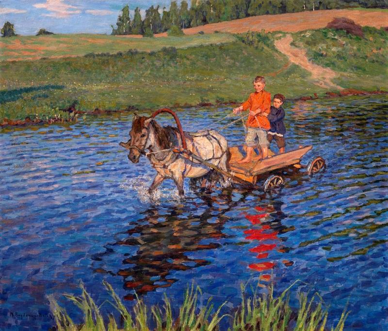 Пересечение реки  печать на холсте, натянут Богданов-Бельский Николай - фото 1