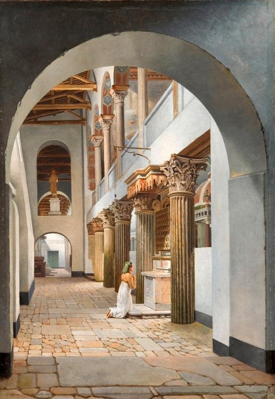 Вид вид на церковь Сан-Лоренцо-фуори-Ле-Мура  печать на холсте, натянут Эккерсберг Кристоффер Вильхельм - фото 1