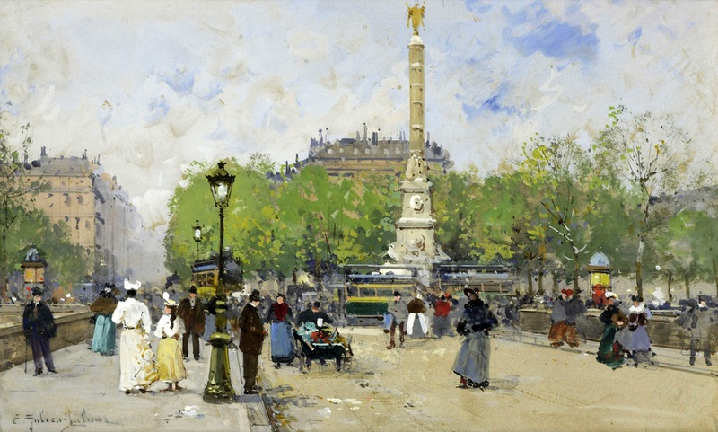 Площадь Шаталье  печать на холсте, натянут Гальен-Лалу Эжен - фото 1